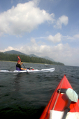 Vancouver Island, Sea kayakers paddling Brooks Peninsula, Checleset Bay Ecological Preserve, British Columbia, Canada, Pacific Ocean,