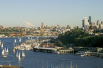 Seattle, Mount Rainier from Seattle's Lake Union, summer, Washington State, Pacific Northwest, USA,