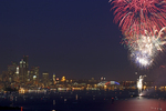 Seattle, Elliott Bay, Fourth of July fireworks; Port of Seattle, Elliott Bay, Puget Sound, Washington State, Pacific Northwest