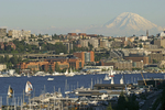 Seattle, The Fred Hutchinson Cancer Research Center complex is centered in this image - the red-brown brick structures.Mount Rainier, Lake Union, Washington State, Pacific Northwest, USA,