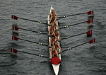Seattle, Rowing, Windermere Cup Regatta, Martha's Moms Rowing Club, women's eight oared racing shell from above, 