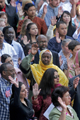 American diversity, New Citizens, woman in traditional dress, swearing in ceremony, Fourth of July, Seattle Center, Seattle, Washington State, Pacific Northwest, 