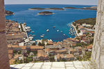 Croatia, Hvar, Hvar Island, Dalmatian Islands, historic Spanish fortress overlooks Venetian harbor, yachts, Adriatic Sea, Europe,