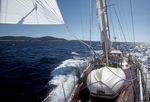 Croatia, Sailing, Lastovski Channel, Mljet Island on left, Dalmatian Islands, Southern Dalmatia, Adriatic Sea, Europe, Ketch-rigged sailboat &quot;Lady Be Good&quot;, Mark Hoffman at the helm, model released,
