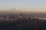 Mount Rainier; Seattle; Port of Seattle; Queen Anne Hill; Sunset; Washington State; Pacific Northwest; USA;