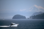 San Juan Islands, Mount Baker, island cruising in powerboats, Puget Sound, Washington State, Pacific Northwest, USA,