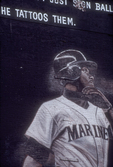 "Seattle, Ken Griffey ""Junior"", Mariners baseball player on First Avenue billboard a few years after he was traded to Cincinnati in 1999"