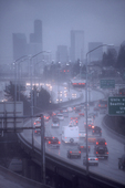 Seattle, Interstate 5, southbound, Seattle skyline, rain, Pacific Northwest,
