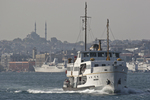 Istanbul, Turkey, Beyoglu from Asian, Anatolian shore, passenger ferries, crossing Bosporos Strait,