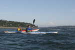 Seattle, sea kayakers, Mount Rainier, Puget Sound, Washington State, Pacific Northwest, U.S.A.,