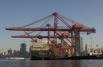 Seattle, container ship, container crane, China trade; Seattle skyline;  Port of Seattle, Elliott Bay, Puget Sound,
