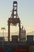 Seattle, container ship, container crane, Asian trade; Port of Seattle, Elliott Bay, Puget Sound, Olympic Mountains;