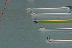 Numbers, Bow numbers, Rowing, boats lined up at start of rowing race, Rowing World Championships, Milan Italy,