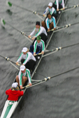 Rowing, women's sweep rowing, rowing regatta, women's eight oared racing shell, view from above, blur motion,