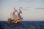 The Golden Hind, historic sailing ship, Sir Francis Drake's Golden Hind replica under full sail, commemorating Drake's around the world (1577-1580) Voyage of Discovery,  