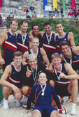 Rowing, FISA Rowing World Championships, Lac Aiguebelette,  France, Europe, United States men's eight, Jamie Koven, Men's single, Coach Mike Teti celebrate, gold medals, 1997,