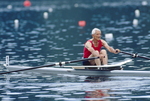 Rowing, Cam Jones, masters rower rowing a single racing shell at full pressure at 80 years old, he is a member of the Lake Merritt Rowing Club
