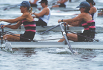 Rowing, women rowing a double racing shell, Master's National Championship Regatta, Lake Onondaga, Syracuse, New York,  1996, Olivia Montgomery (bow), Kate Stegemoeller, (stroke) at the drive