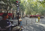 Paris, France, Boulevard Saint Michel, Street scene, Left Bank, 6th Arrondissement, Europe, Woman leaning  