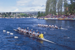 Rowers, Seattle, Windermere Cup Regatta, University of Washington women's eight trailing, Lake Washington Ship Canal, Opening day of the competitive rowing season, 1999