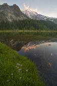 Mount Rainier National Park, Mystic Lake, Wonderland Trail, Washington State, Pacific Northwest, U.S.A., wildflowers, Mount Rainer as sunset,