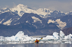 Alaska, Prince William Sound, solo Sea kayaker, Columbia Bay, Columbia Glacier, Icebergs, Brash Ice, Chugach Mountains, USA, David Fox, released,