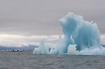 Alaska, Prince William Sound, Columbia Glacier icebergs, sea kayakers, Columbia Bay, USA, 