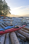 Barkley Sound, Broken Islands, Pacific Rim National Park, Vancouver Island, West Coast, British Columbia, Canada, Clarke Island, sea kayaks, kayaker's campsite,