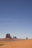 U.S.A., Arizona, Monument Valley, Navajo Tribal Park, red rock, American, desert landscape, lone woman,