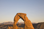 Utah, Arches National Park, Delicate Arch, La Sal Mountains in the distance, American Southwest, USA, 