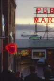 Seattle, Pike Place Farmers Market, WA. St. ferry, Elliott Bay, neon signs, historical district,