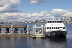 Seattle, Water Taxi, skyline, Port of Seattle, Puget Sound, Washington State, USA, passenger ferry from West Seattle to downtown, Elliott Bay,