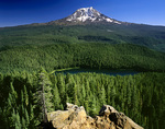 WASHINGTON - Council Lake and Mount Adams from Council Butte in Gifford Pinchot National Forest