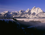 WYOMING - Winter view of the Tetons from Snake River Overlook in Grand Teton National Park