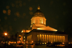 WASHINGTON - Rainy evening at the Washington State Capitol building in Olympia.