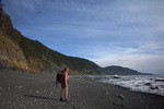 CALIFORNIA - Hiker on the Lost Coast Trail near Big Flat in the Kings Range National Conservation Area.