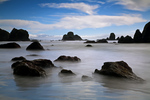 CALIFORNIA -Boulders and offshore seastacks at Luffenholtz Creek Beach on the Pacific Coast at Trinidad.