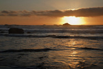 CALIFORNIA - Sunset at Hidden Beach in the coastal portion of Redwood National Park.