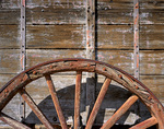 CALIFORNIA - Detail of wagon at historic Harmony Borax Works in Death Valley National Park.