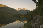 WASHINGTON - Sunrise at Waptus Lake and Summit Chief Mountain in the Alpine Lakes Wilderness of Wenatchee National Forest.