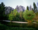 CALIFORNIA - Cathedral Rocks and the Merced River in Yosemite Valley, Yosemite National Park