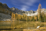WASHINGTON - The golden glow of larch trees in autumn colors at Eagle Lake and the Sawtooth Ridge in Okanogan National Forest.