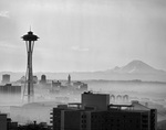 B&I32826...WASHINGTON - 1962 photograph of Seattle skyline and the Space Needle with Mount Rainier in the background.