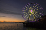 WASHINGTON - The Great Wheel at sunset along the Seattle Waterfront area on Elliot Bay.