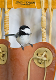 Black-capped chickadee perched on a snow shoe