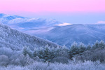 Twilight wedge and Great Smoky Mountains viewed from Max Patch, Pisgah National Forest, NC