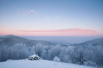 WD0162: Twilight wedge over snow-covered mountains at sunrise, TN-NC state line, winter