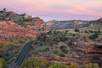 Utah's Scenic Byway 12 passes through Kayenta and Navajo Sandstone formations as it crosses the Escalante River, Grand Staircase-Escalante National Monument, October, sunset