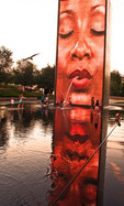 Chicago's Millennium Park Faces Fountain