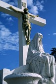 Sculpture of Crucifixion of Christ in New Orleans cemetery